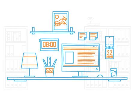interior designer: Hand draw modern office interior designer workplace with desktop minimalistic style