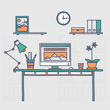 freelancer: Workspace. Hand drawn office interior or home workplace freelancer in linear style Illustration