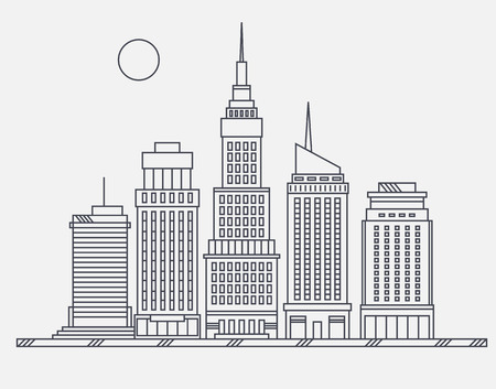 business buildings: Business center of big city broadway street skyscrapers megapolis buildings concept real estate architecture, commercial building and offices drawing in linear flat design Illustration