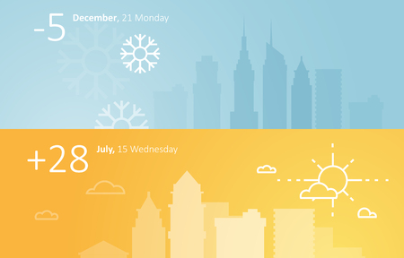 weather: Weather widgets template winter and summer in city
