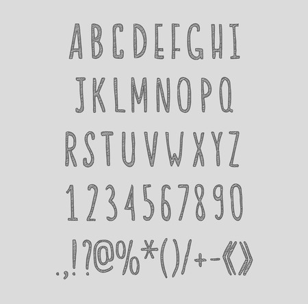 punctuation marks: chalk sketched striped alphabet abc vector font. Type letters, numbers, characters and punctuation marks.