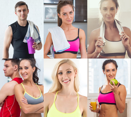an avatar: Collection of different many happy smiling young sportive people faces caucasian athlete women and men. Concept business, avatar Stock Photo