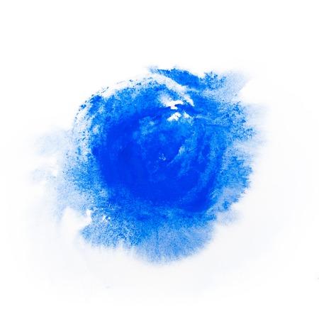 青い絵の具水彩 aquarelle 汚れを大まかなストロークとグランジ スタイルでエッジにスプラッタ スプラッシュ 写真素材