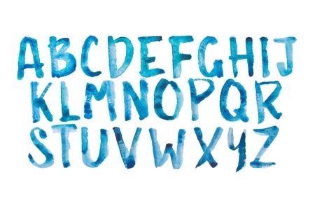 tipos de letras: Acuarela acuarela tipo de letra escrita a mano dibujado a mano doodle del abecedario alfabeto letras mayúsculas