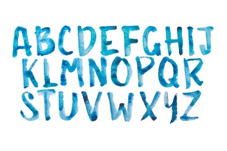 abc calligraphy: Watercolor aquarelle font type handwritten hand drawn doodle abc alphabet uppercase letters Stock Photo