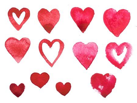 zeichnen: Aquarell malen Aquarell Hand rotes Herz Liebe gezeichnet