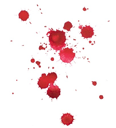 Abstract watercolor aquarelle hand drawn colorful shapes art red color paint or blood splatter stain.