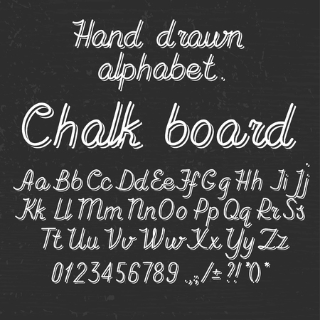 Hand drawin alphabet handwritting abc font on blackboard. Italic light thin line type letters, numbers and punctuation marks Illustration