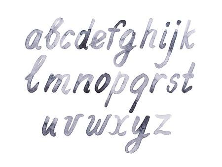 garabatos: Colorido acuarela acuarela tipo de fuente mano a mano doodle abecedario alfabeto letras min�sculas.