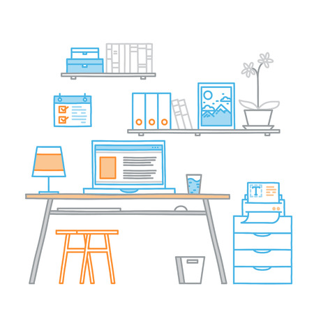freelance: Hand drawn office workspace minimalistic linear style concept work at home, freelance,  programming process designer workplace.