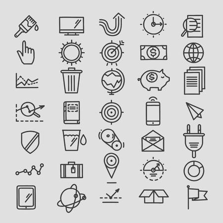 cursor: Set of linear hand drawn icons. concept business web media seo marketing engine optimization site