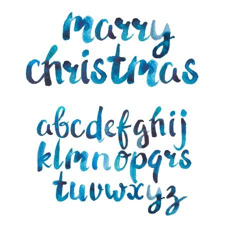 en: Colorful watercolor aquarelle font type handwrittn doodle en hand drawabc alphabet letters. Stock Photo