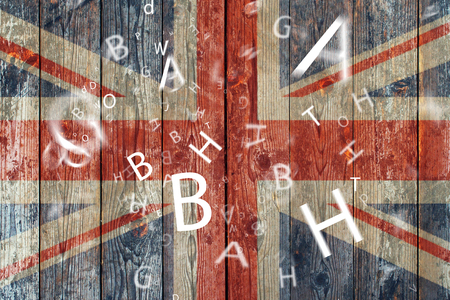 british english: The British flag and letters Concept learning english language.