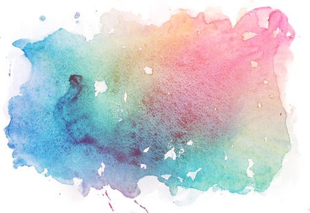 Abstract watercolor aquarelle paint hand drawn colorful splatter stain 写真素材