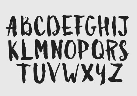abc calligraphy: Watercolor aquarelle font type handwritten hand drawn doodle abc alphabet uppercase letters Illustration