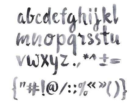 abc calligraphy: Watercolor aquarelle font type handwritten hand drawn doodle abc alphabet lowercase letters