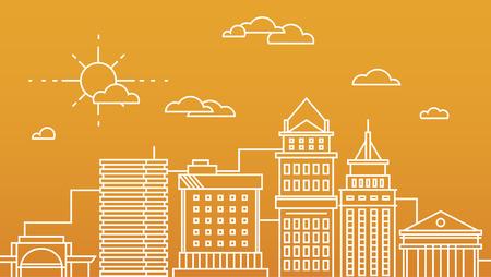 contorno: Gran centro de negocios de la ciudad rascacielos edificios megapolis en concepto de diseño plano arquitectura inmobiliario lineal, edificios comerciales y oficinas Vectores