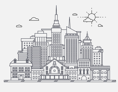 old houses: Business center of big city street skyscrapers megapolis buildings concept real estate architecture, commercial building and offices drawing in linear flat design Illustration