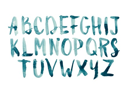 abc: Watercolor aquarelle font type handwritten hand drawn doodle abc alphabet uppercase letters Stock Photo