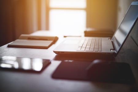 Workplace desk laptop computer notebook on table Standard-Bild