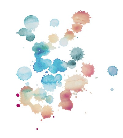 aquarelle: Abstract watercolor aquarelle hand drawn blot colorful paint splatter stain.