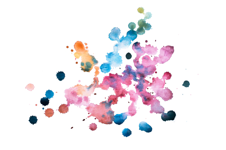 draw hands: Abstract watercolor aquarelle hand drawn colorful shapes art red color paint or blood splatter stain.