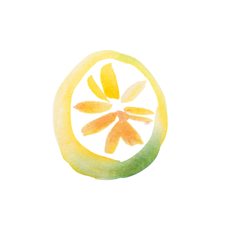 Yellow Lemon Slice Watercolor aquarelle hand drawn