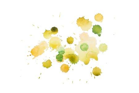 aquarelle: aquarelle yellow green wet splash, watercolor drop on white paper. Stock Photo
