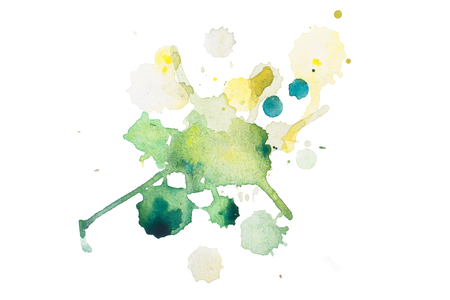 wet: aquarelle green wet splash, watercolor drop on white paper