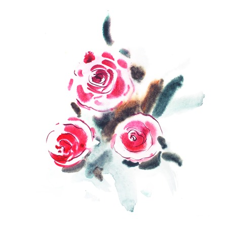aquarelle: watercolor painting of red roses, pink flowers bouquet aquarelle drawing. Stock Photo