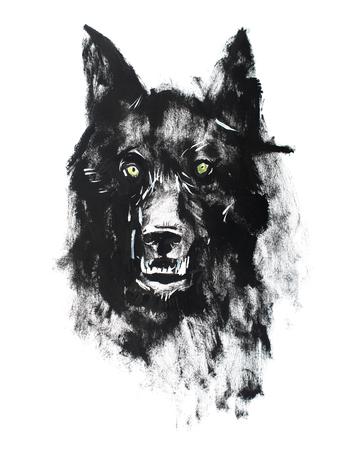 Waterverftekening van zwarte boze kijkende wolf. Dierlijk portret op een witte achtergrond