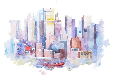 뉴욕 풍경, 미국의 수채화 그리기. 맨하탄 수채 화법 그림. 스톡 콘텐츠