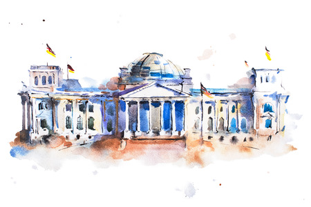 historical: watercolor drawing of Reichstag building in Berlin.