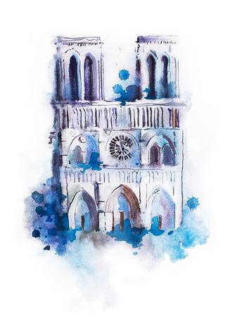 노트르담의 수채화 그리기. 수채 화법 파리 그림을 볼 수 있습니다. 스톡 콘텐츠