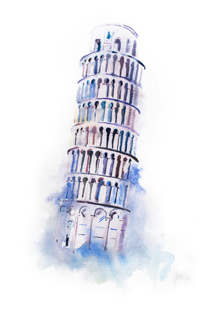 leaning tower: watercolor drawing leaning tower of Pisa. aquarelle world wonder painting. Stock Photo