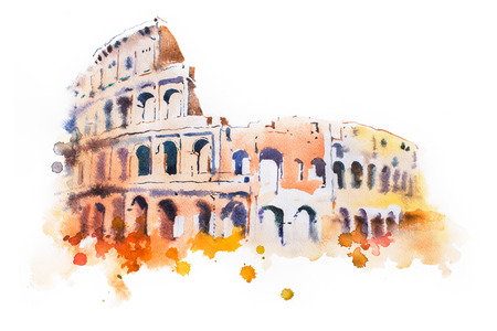 roman empire: watercolor drawing of Coliseum in Rome. Hand drawn Italian sightseeing.