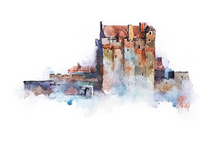 scots: watercolor drawing of Eilean Donan Castle in Scotland.
