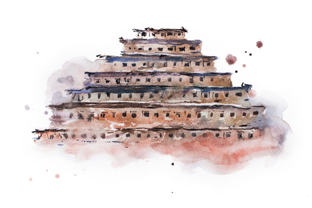 mesoamerica: ancient pyramid of niches watercolor painting. Mexico.