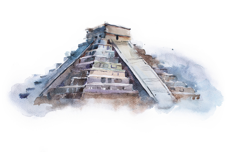 mesoamerica: pyramid Chichen Itza in Mexico watercolor drawing. Temple of Kukulkan aquarelle painting.