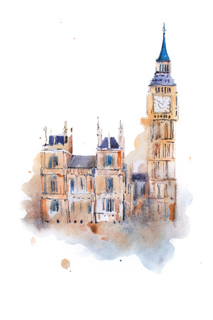 houses of parliament   london: watercolor drawing Westminster Palace in London. Aquarelle painting Houses of Parliament, Big Ben.
