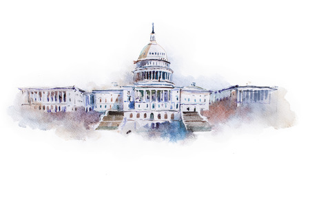 dc: watercolor drawing of the white house in Washington dc.