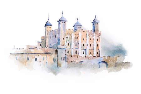 cultural history: tower of London watercolor drawing, London, UK. English sightseeing aquarelle painting. Stock Photo