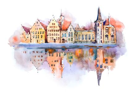 Brugse stadsbeeld waterverftekening, België. Brugge kanaal aquarel schilderen. Stockfoto