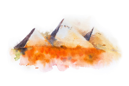 cheops: watercolor drawing of Giza Pyramids, Queens Pyramids in Egypt. Stock Photo