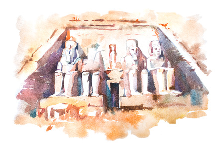 Abu Simbel temples watercolor drawing, Egypt. The Great Temple of Ramesses II aquarelle painting.