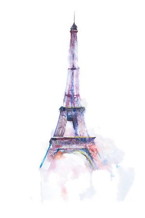 waterverftekening van de Eiffeltoren in Parijs op een witte achtergrond.
