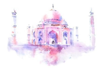 unesco: watercolor drawing of Taj Mahal in Agra, India. Stock Photo