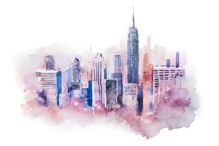 new york city skyline: watercolor drawing cityscape big city downtown, aquarelle painting