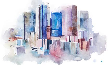 urban scene: watercolor drawing of New York cityscape, USA. Manhattan aquarelle painting.
