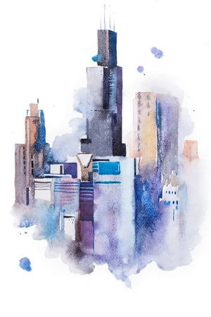 financial district: watercolor drawing cityscape big city downtown, aquarelle painting